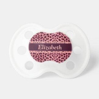 Pink Leopard Skin Pattern Baby Pacifier