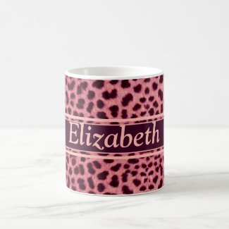 Pink Leopard Skin Pattern Coffee Mugs