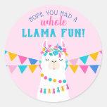 Pink Llama Fun Birthday Classic Round Sticker