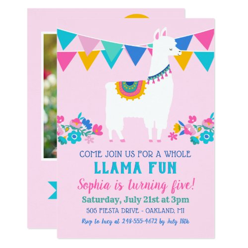 Pink Llama Fun Birthday Party Invitation