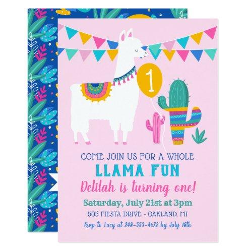 Pink Llama Fun First Birthday Party Invitation