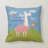 Pink Llama on Hilltop Throw Pillow