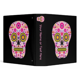 Pink Mexican Sugar Skull binder