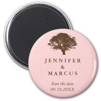 Pink oak tree wedding announcement save the date 2 inch round magnet