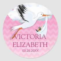 Pink Ombre Chevron Baby Name Round Stickers