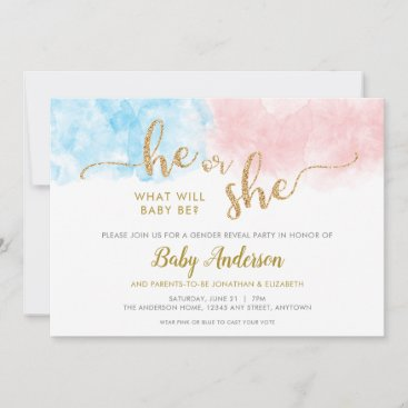 Pink or Blue Gold Glitter Gender Reveal Invitation