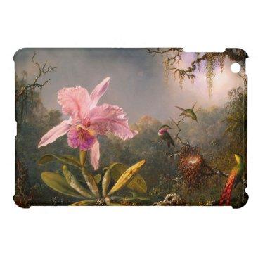 Pink Orchid and Three Hummingbirds iPad Mini Case