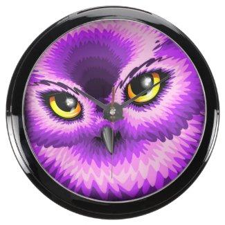 Pink Owl Eyes Aqua_Clock Aquarium Clocks