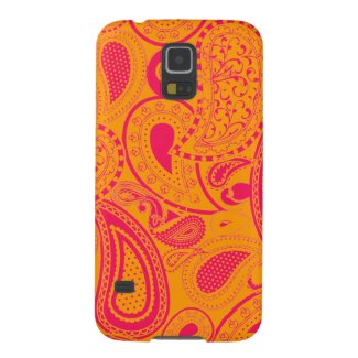 Pink Paisley pattern with orange Case For Galaxy S5