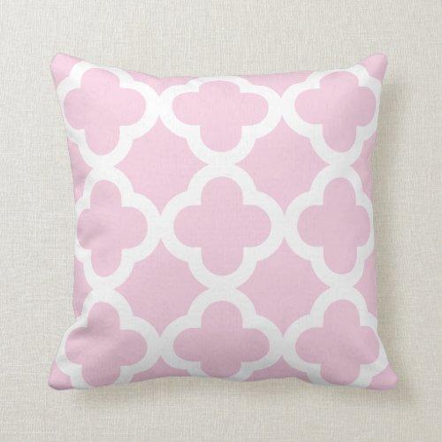 Pink Pastel Trendy Clover Pattern Throw Pillow