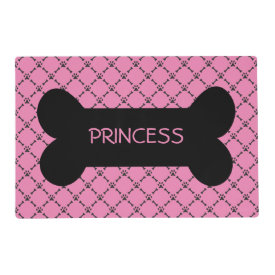 Pink Paw & Bone Design Personalized Pet Placemat Laminated Place Mat