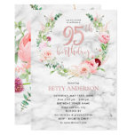Pink Peony Wreath Rose Gold Marble Typography 95th Invitation