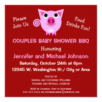 Pink Pig BBQ Couples Baby Shower Gender Neutral Card