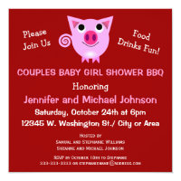 Pink Pig BBQ Couples Baby Shower Girl or Neutral Card