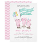 ❤️ Fun Pink Pigs With Blue Flags Kids Birthday Party Invitation