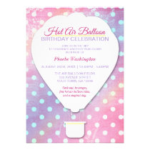 Pink Polka Dot Hot Air Balloon Birthday Invitation
