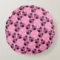 Pink Polka Dots and Ladybugs Round Pillow
