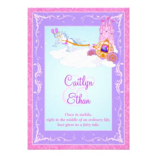 Pink, Purple Fantasy Fairytale Wedding Invitation