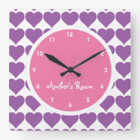 Pink & Purple Heart Print Girl's Bedroom Square Wallclock