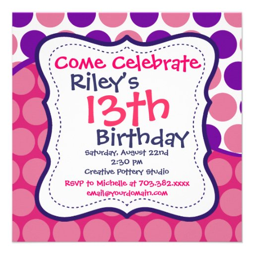 review pink purple polka dots birthday party invitations kids birthday party invitations