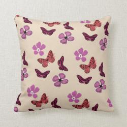 Pink Purple Red Butterflies Flowers Pillow Cushion