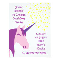 Pink/Purple Unicorn Birthday Invitation