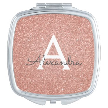 Pink Rose Gold Glitter and Sparkle Monogram Compact Mirror