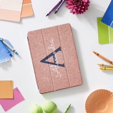 Pink Rose Gold Navy Blue Glitter Sparkle Monogram iPad Pro Cover