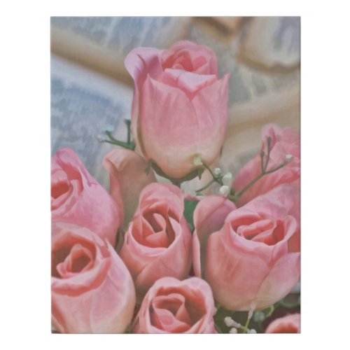 Pink Roses On Book Pages Faux Canvas