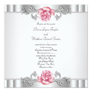 Silver Glitter And Pink Paper Of Pocket Wedding Invitation Cards With Label
