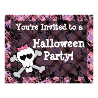 Pink Skull Halloween Party Invitations