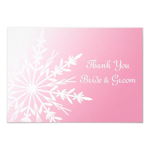 Pink Snowflake Winter Wedding Flat Thank You Notes Invitation