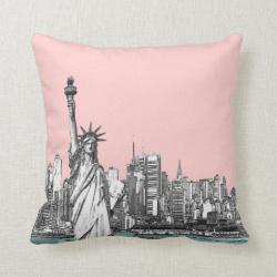 Pink Statue of Liberty New York Throw Pillows