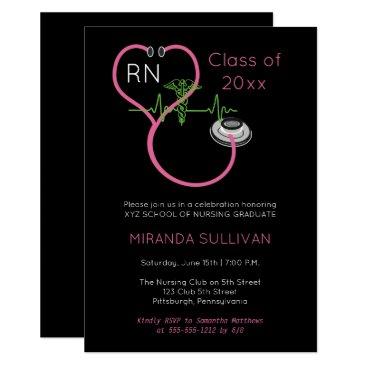 Pink Stethoscope EKG Nursing Graduation Party Invitation