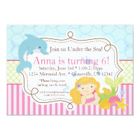 Pink Stripe, Dolphin, Girl Mermaid Birthday Party Card