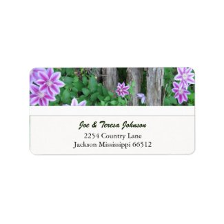 Pink Striped Clemantis Address Labels