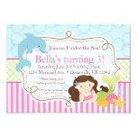 Pink Stripes, Dolphin and Mermaid Birthday Party Invitation