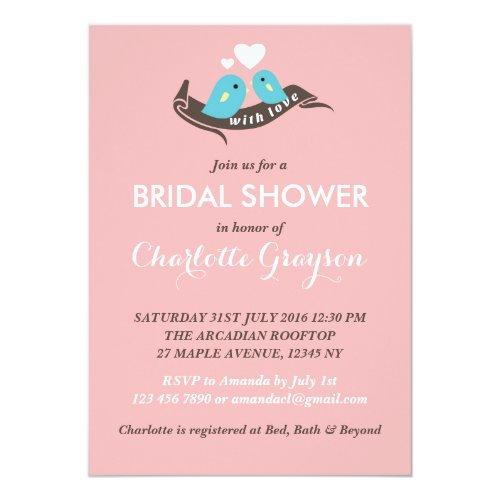 Pink Stripes Lovebirds Bridal Shower Invitation