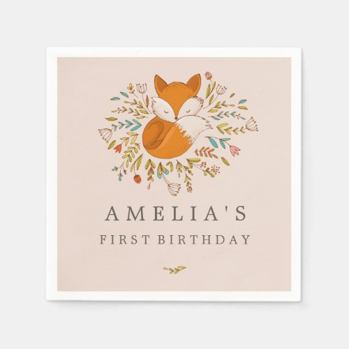 Pink Sweet Woodland Fox 1st Birthday Napkin