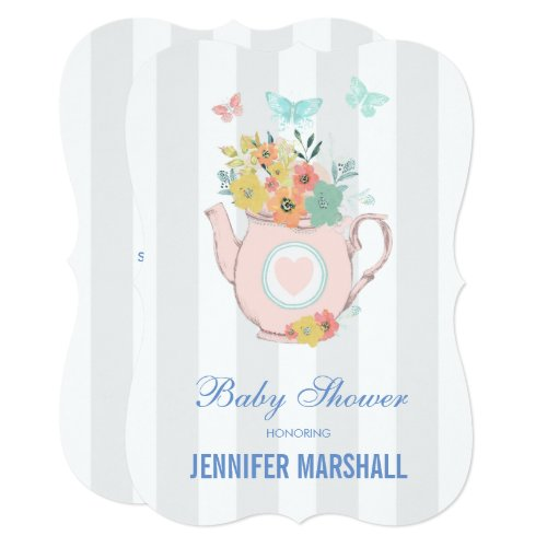 Pink Teapot with Flowers & Butterflies Baby Shower Invitation