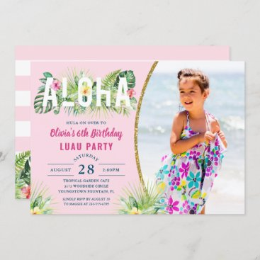 Pink Tropical Floral Aloha Luau Birthday Photo Invitation