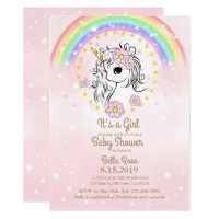 Pink Unicorn RainBow Girl Baby Shower Cards