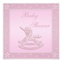 Pink Unicorn Rocking Horse Baby Girl Shower Card