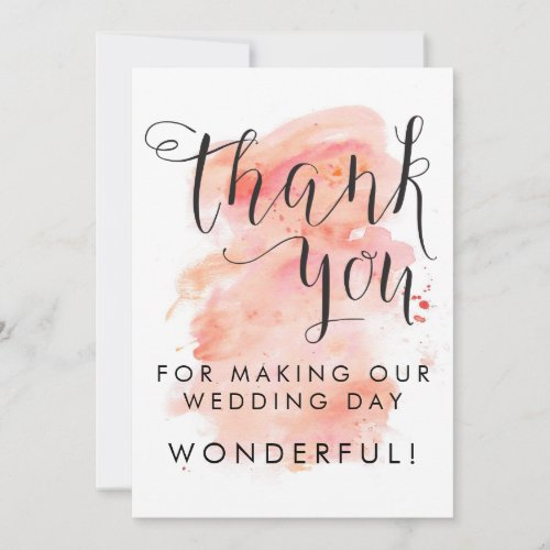Pink Watercolor Background Wedding Thank You Card