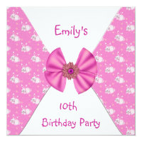 Pink White Bunny Rabbits Cute Bow 10th Birthday Card