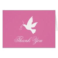 Pink & white dove bird wedding thank you card