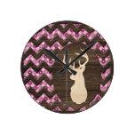 Pink Wood Chevron Deer Buck Round Clock