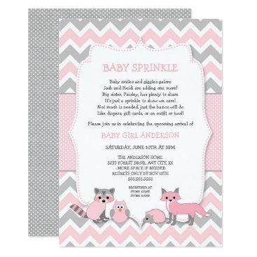 Pink woodland animal baby sprinkle, baby shower card