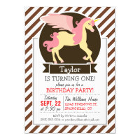 Pink & Yellow Fantasy Unicorn; Brown White Stripes Card