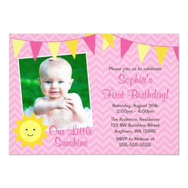 Pink Yellow Sunshine Photo Birthday Card